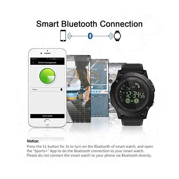 Smartwatch Hombre Deporte Reloj Inteligente Hombre Deporte con Estilo Smartwatch para Deportes y Aire Libre con Contadores de Podómetro Calorías Cronómetro Notificación de Mensajes para Android y iOS 4