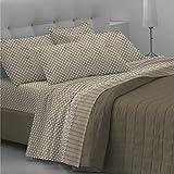 Goldenhome Emma Parure de draps de lit 2 places, avec 2 taies d'oreiller, 1 drap-housse et 1 drap plat beige