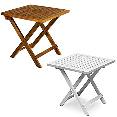 Low coffee table wooden small side table acacia hardwood kitchen small bistro table - Brown or White - low-cost UK coffee table store.