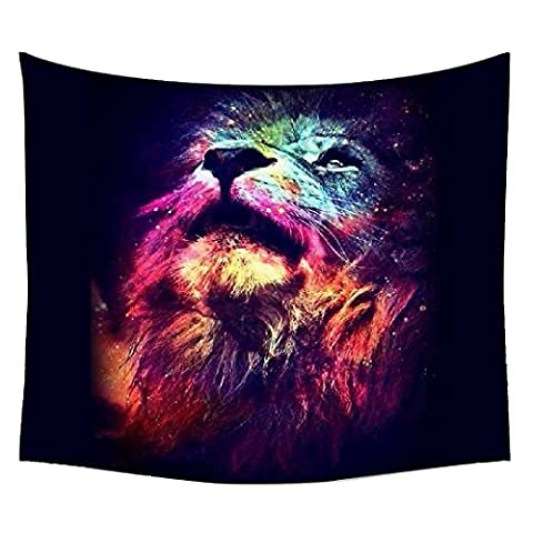 Snoogg Neon Lion Wall Hanging Indian Mandala Tapestry Decorative Dorm Tapestry Wall Hanging Beach Picnic Sheet Hippie Tapestry Wall Tapestries , Bohemian