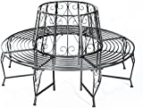 Outsunny Outdoor Garden Metal Round Tree Bench Seat Diameter 160cm Height 90cm Metallic Grey