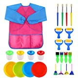 VEYLIN Kids Paintbrushes & Sponge Painting Supplies Brushes Paint Bowls Spill Proof Paint Pots with Apron (25 Pieces)
