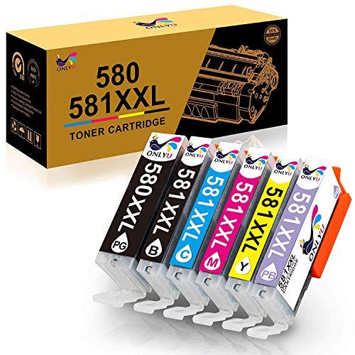 ONLYU 580XXL Compatibile per Canon PGI-580XXL CLI-581XXL Cartuccia d'inchiostro per Canon Pixma TS8150 TS8151 TS8152 TS9150 TS9155 6-Pack (1 PGBK 1 Nero 1Ciano 1 Magenta 1 Giallo 1 Foto Blu)
