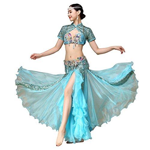 Byjia Dance costumes Bauch Tanzen Performance Frau Handmade Perlen Pailletten Blume Stickerei BH Mäntel Reißverschluss Rock Modern Trainieren Kostüm Blue S