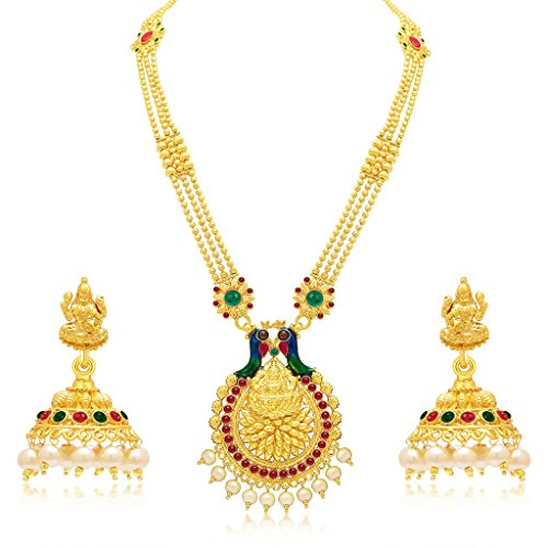 South Indian Traditional Wedding Jewellery Set Laxmi Temple Peacock Gold Plated Necklace Set for Women Designer Heavy Ethnic Jwellery Set