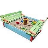 proheim Sandkasten mit Deckel und Bank 116 x 117 x 21 cm Sandkiste in Grün / Rot / Blau Sandbox mit...