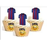 12 x Camiseta de fútbol Barcelona Decoración Comestible Personalizacion de Reposteria Feliz Cumpleanos