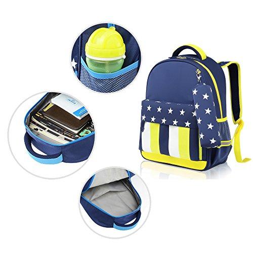 BOZEVON Wasserdichter Rucksack für Kinder Unisex Schultaschen Jungen Mädchen für Reisen, Wandern, Sport Blau Gelb