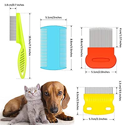 8 Pieces Dogs Flea Lice Tear Stain Remover Comb Stainless Steel Pet Cat Fine Metal Teeth Untangle Comb for Gently Grooming Float Hair Removal, Knots/Mucus/Crust/Dandruff Flakes Clean Tool by Boao