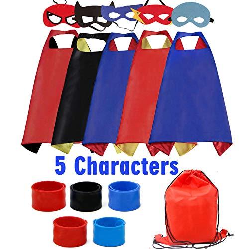 Riorand costumi da supereroi per bambini con mantelle in raso con maschera in feltro, braccialetti di schiaffo e borsa esclusiva per regali di compleanno bambini giocattoli 5pcs