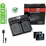LOOKit Dual Chargeur + 2x LOOKIt Batterie BLC12 - 1050mAh pour Panasonic FZ2000 G81 FZ300 FZ1000