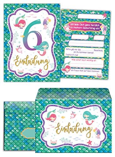 ngskarten incl. 8 Umschläge zum 6. Kindergeburtstag Mädchen Meerjungfrau Einladungen sechste Geburtstag ()