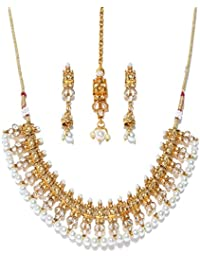 Jewels Galaxy Delicate Pearls-Kundan Studded Gold Plated Traditional Necklace Set With Maang-Tika For Women/Girls