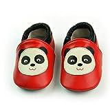 VASHCAME-Chaussures Bébé Cuir Souple Chaussons Premiers Pas Respirant pour Garçon Fille Nourrisson Efant Panda Taille L:12-18 Mois