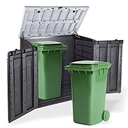 Keter Store It Out Wheelie Bin Store with lid and double doors open