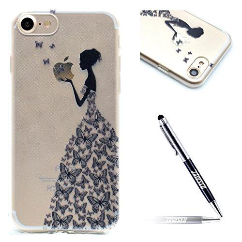 JAWSEU Kompatibel mit iPhone 6S / 6 Hülle,Marble Muster Crystal Clear Transparent Silikon Schutzhülle Case Scratch-Resistant Abdeckung Handytasche Cover,Schmetterlings Mädchen