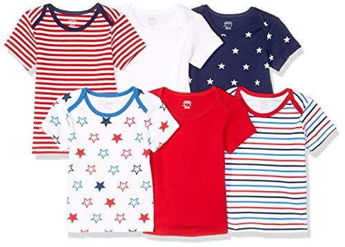 Amazon Essentials 6-Pack Lap-Shoulder Tee infant-and-toddler-t-shirt-sets, Uni Americana, Preemie Preemie-shirt