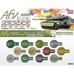 Academy A.F.V Enamel Painting 12 Color Set For Plastic Model Kits 15906
