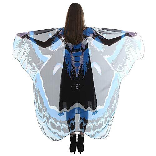 Dorical Schmetterlingsflügel Damen Schmetterling Kostüm Faschingkostüme Schmetterling Schal Flügel Schal Tuch Erwachsene Poncho Umhang für Party Halloween Weihnachten Kostüm Cosplay Karneval Fasching