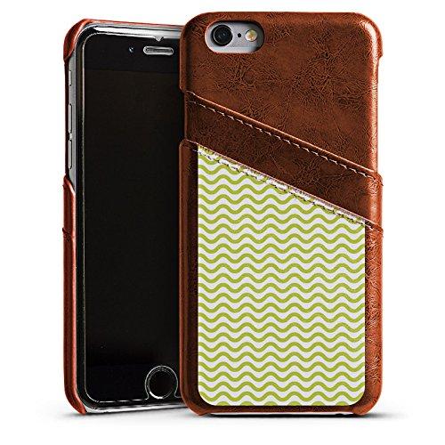 Apple iPhone 5s Housse Étui Protection Coque Vagues Motif Motif Étui en cuir marron