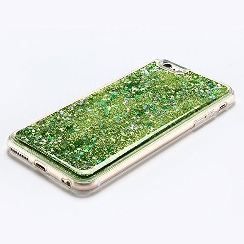 Coque iPhone 6 , E-Lush Apple iPhone 6 / 6S Liquide Sables Mouvants Etui Rose Quicksand Motif Coque cover Etui Cover Case Bling Bling Glitter Étoile Paillettes Etui Housse Souple Silicone TPU + Dur PC Vert