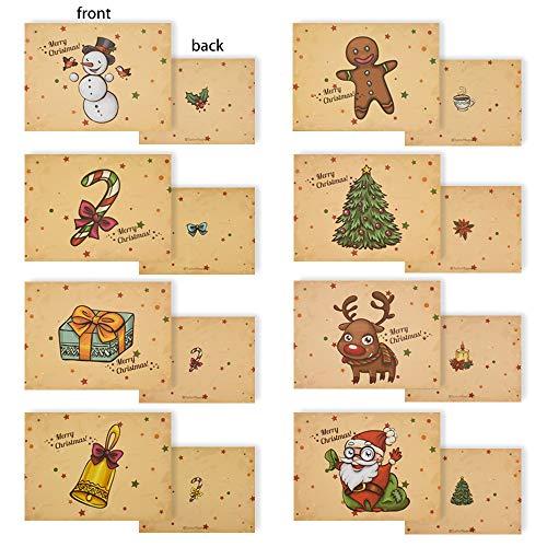 Gudotra-01 Kit 32pz Babbo Natale Biglietti di Auguri Natalizi Merry Christmas con 32 Buste Modello Renne Pupazzo di Neve Bastoncino di Zucchero Albero di Natale Campana
