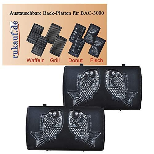 Elektrischer Back-Automat Nussbäcker BAC-3000 Nussmaker Waffeleisen 12er - austauschbare Platten (Fish)