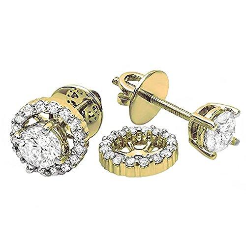 Damen Ohrringe / Ohrstecker 1.00 Karat 18 Karat Gelbgold Rund Diamant Halo Mit abnehmbaren Jacken