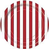 Rote Streifen 8 kleine Teller