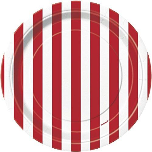 Rote Streifen 8 kleine Teller (Rot Party Pappteller)