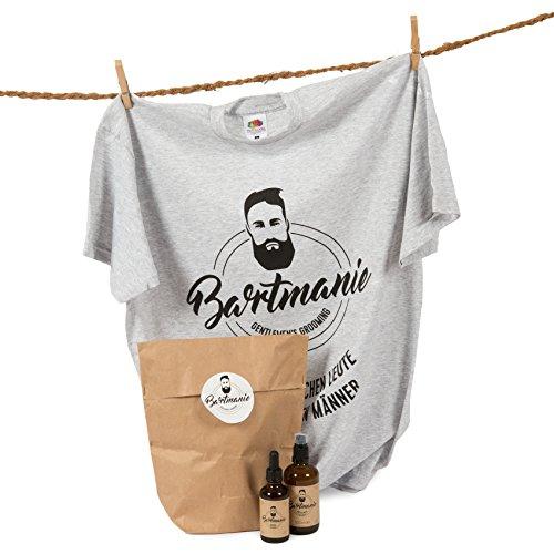 Bartmanie Bartpflege-Set INKLUSIVE T-SHIRT bestehend aus Bartshampoo (100ml) & Bartöl (50ml), 3 teiliges Geschenkset für Männer zum Nikolaus - Perfekte 3 Tage Bart-Pflege