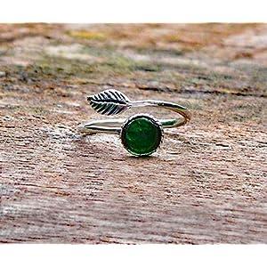 Bottled Up Designs Recycelte Vintage 1960er Jahre grüne Bierflasche Sterling Silber Leaf Ring