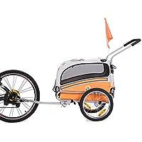 LEONPETS Haustier Transportwagen/Anhänger für Jogger und Fahrrad 20303 (Orange)