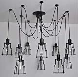 Hl415 Schwarze Spinnen-Leuchter-Lampe mit Eisen-Abdeckung Weinlese-Industrie Retro Anhänger Edison Kreative 10 Kopf DIY Deckenpendelleuchte