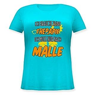 Urlaub - Ich Brauche Keine Therapie ich muss nur nach Malle - XL (50/52) - Türkis - JHK601 - Lockeres Damen-Shirt in großen Größen mit Rundhalsausschnitt