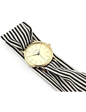 Paulette Uhr Classic Black & White: Schöne 39mm Armbanduhr mit Stoffband für Damen, besonderes Wickelarmband mit...