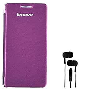 Chevron Flip Cover Case with 3.5mm Stereo Earphones for Lenovo A6000 Plus (Purple)