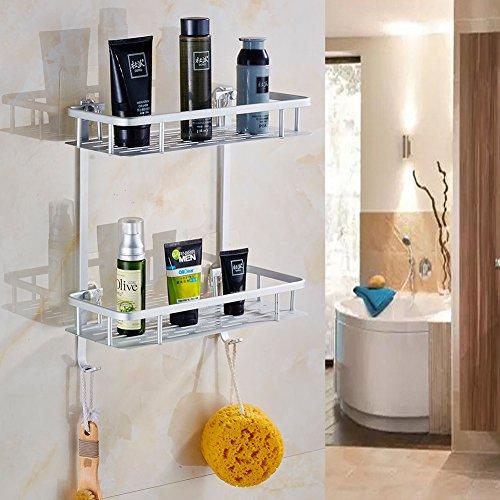 Laimew no perfora el estante del baño estante de ducha pegajoso de aluminio de la grieta de 2 niveles con el gancho colgante para el champú