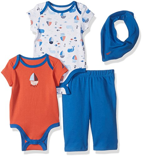 Nautica Baby Boys' Four Piece Knit Set with Hanky and Onesie
