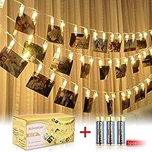 SUNNIOR 20 LED Foto Peg Clip cuerda luz fiesta decoración de la boda (blanco cálido