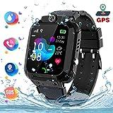 GPS Tracker Kids Smartwatch Phone per Bambini Impermeabile, Localizzato pedometro con Chat Vocale, Sveglia SOS per il Gioco di Matematica Kids Smart Watch, Regalo Ragazzo e Ragazza (GPS-S12-BLACK)