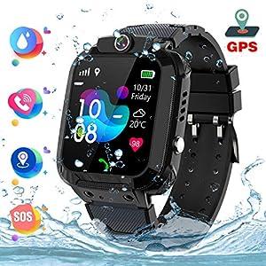 """GPS Kinder Smartwatch Phone Wasserdicht, 1,44"""" LED Touch Digitalkamera Uhr Support Spiel, Wecker SOS Sprach Chat Smart Watch, Geschenk für Jungen und Mädchen Spiel, Black"""