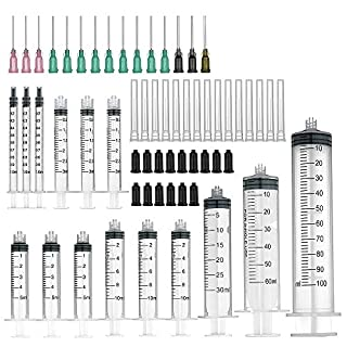 Agemore 15 Pack (100ml/60ml/30ml Each 1pc, 10ml/5ml/3ml/1ml Each 3pcs) Syringes with Blunt Tip Fill Needles and Storage Caps(Luer Lock)