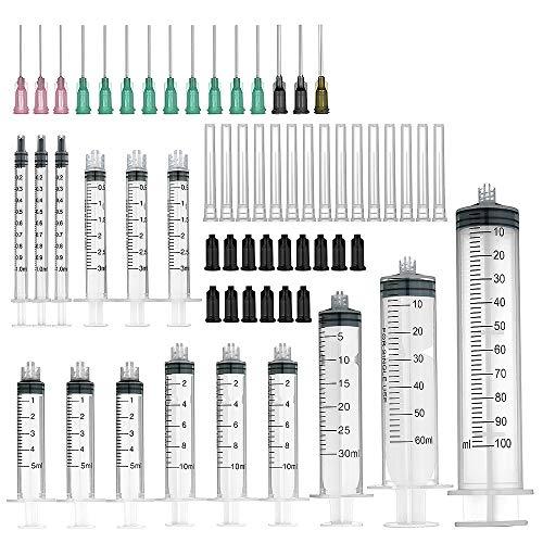 Spritzen mit stumpfen Nadeln, 15-Stück Packung (100 ml/60 ml/30ml je 1Stück, 10ml/5ml/3 ml/1 ml je 3) und Aufbewahrungskappen - Pack Spritze