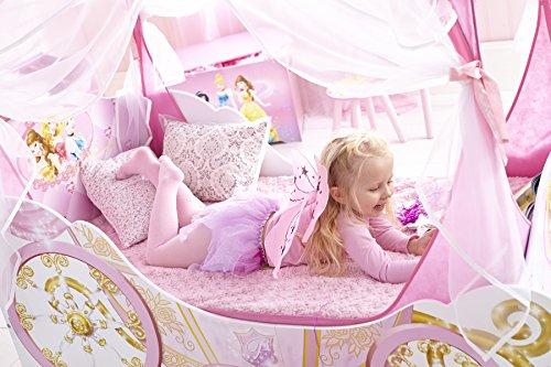 Kleinkinderbett für Mädchen im Kutschendesign von Disney Prinzessin, mit Baldachin - 3