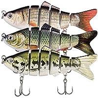Señuelos de Pesca Bait, Multi-articulés Topwater Life-Like Trash Swimbait Hard crankattaches de Agua Dulce y de Agua Salada, Combo-H