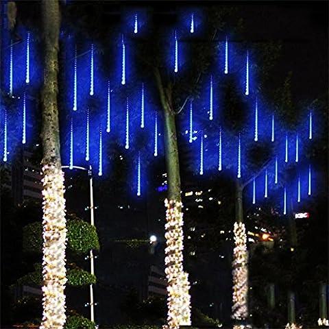 Clode® 30CM LED Douche Lumières Meteor Rain Snowfall Xmas Tree Garden Outdoor (bleu)