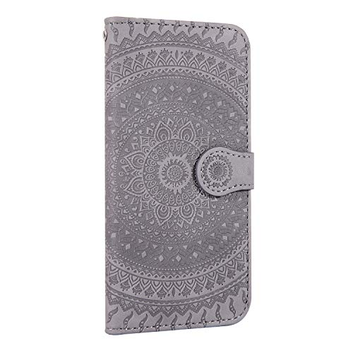 Thoankj Huawei P20 Lite 2018 Hülle Mandala, stoßfest, PU Leder Flip Notebook Wallet Cover mit magnetischem Ständer Kartenhalter ID Slot Folio Soft TPU Bumper Schutzhülle für Huawei P20 Lite 2018