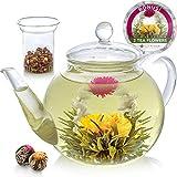 Tetera de cristal de Teabloom & Juego de infusor de vidrio - da para 6-8 tazas - es la mejor opción para hojas de té sueltas o té floreciente – se incluyen 2 flores de té (tetera de 1200 ml)