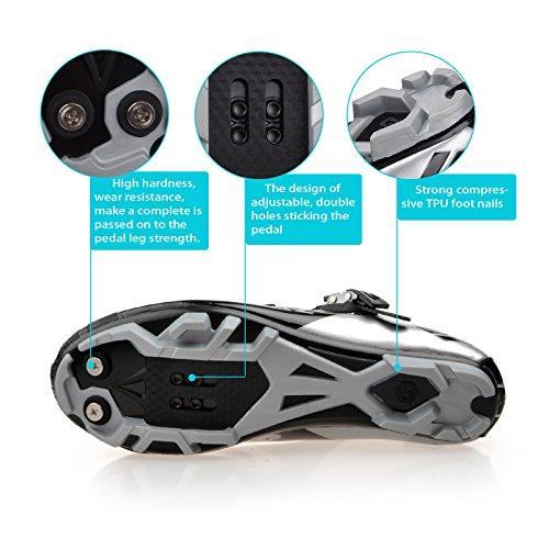 Unisexe respirant chaussures de vélo professionnels pour route et VTT SD-001 Argent / Noir pour le VTT